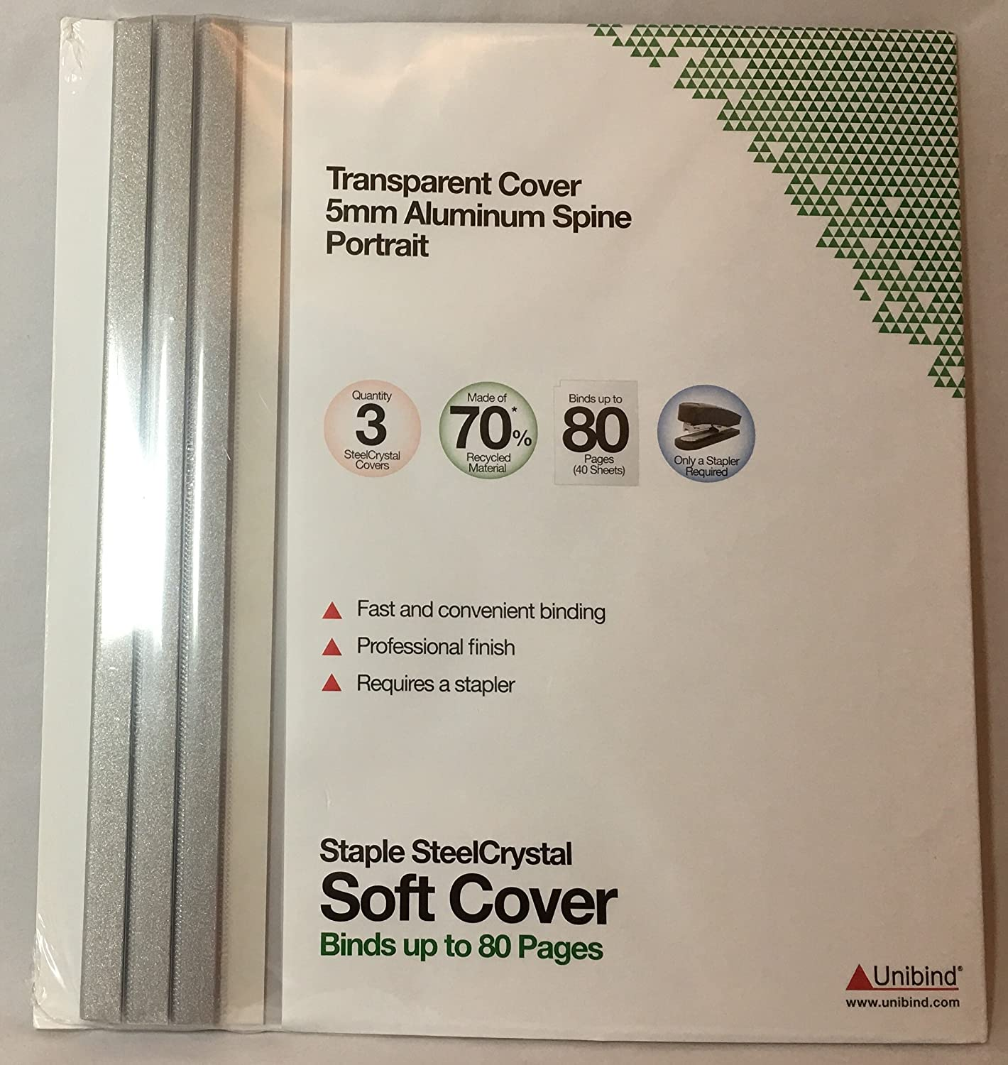 5 mm Transparent Cover// Aluminum Spine Unibind Staple SteelCrystal Soft Cover Binds up to 80 pages//40 Sheets Quantity: 6 Soft Covers