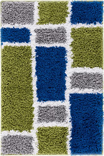 Shaggy Cubes Blue Green Plush Shag Modern Geometric Blocks Squares 2×3 2 x 3 Area Rug Easy Plush Shag Easy Care Thick Soft Plush Living Room