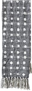 Creative Co-Op Charcoal Throw with White Polka Dots & Tassels