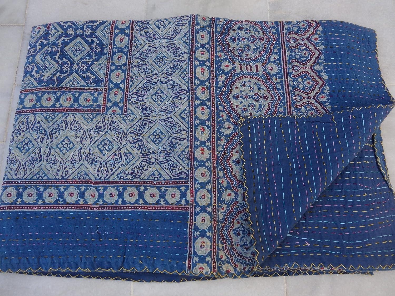 トライバルアジアTextilesインドコットンKanthaベッドカバーベッドスプレッドBlanket Throw Gudriツインサイズ009 B01BER6W9K
