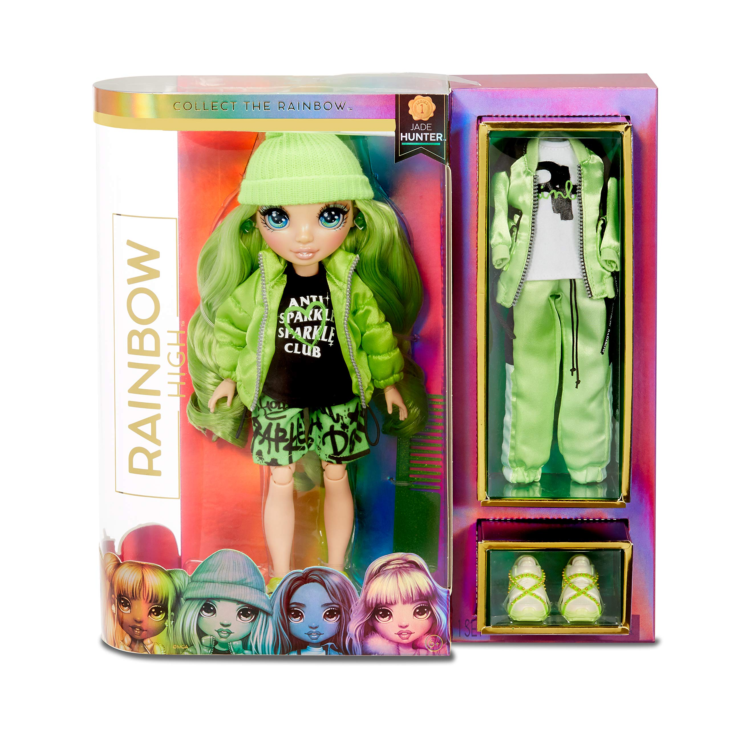 Rainbow Surprise Rainbow High Jade Hunter - Green Clothes Fashion Doll with 2 Complete Mix & Match Outfits and Accessories, Toys for Kids 4 to 15 Years Old