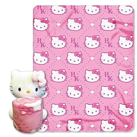 Amazon Hello KittyPink HK's Hugger And Fleece Throw Blanket Delectable Hello Kitty Fleece Throw Blanket
