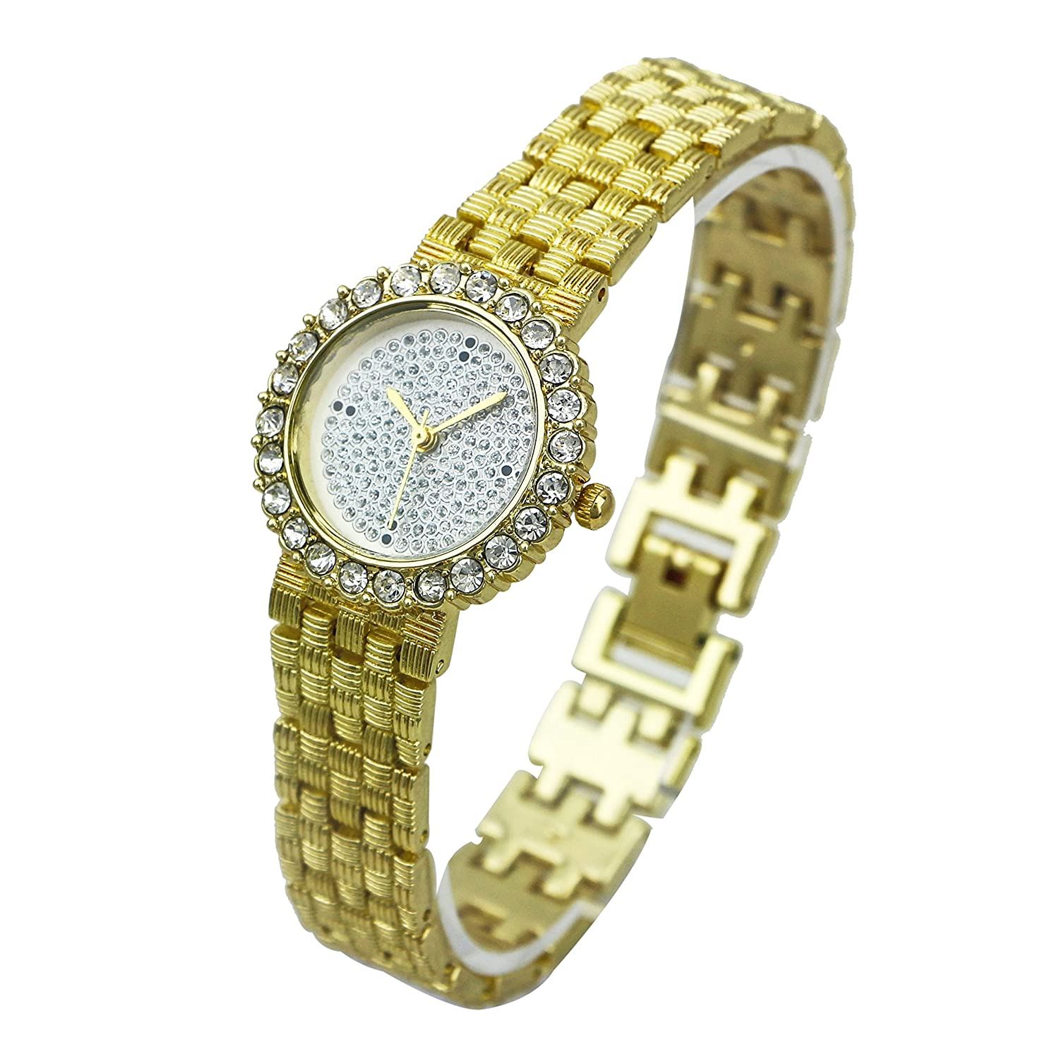 Amazon.com: ShoppeWatch Ladies Bracelet Watch Gold Tone Round Face CZ Crystals Embellished Dial SW9612GDWH: Watches