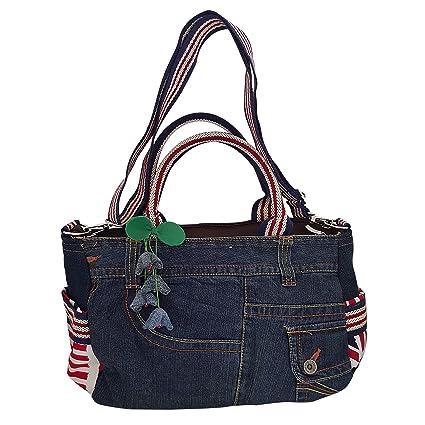 Infinity Denim Jean Top Handle Fabric Handbag Crossbody Shoulder bag  Adjustable Strap -Flag Half Patchwork f0485e2a0f1e6
