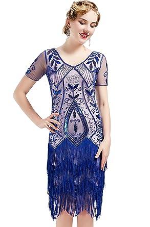 e2a6f548 ArtiDeco 1920s Flapper Fringed Sequin Dress Roaring 20s Fancy Dress Gatsby  Costume Dress V Neck Vintage Beaded Evening Dress: Amazon.co.uk: Clothing
