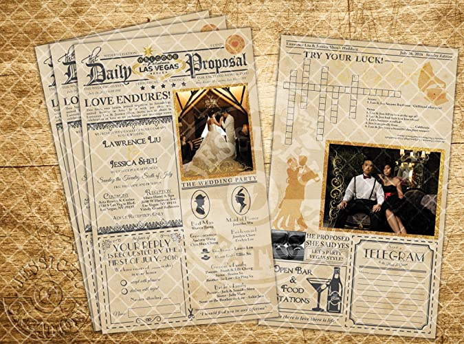 Vintage Newspaper Wedding Invitation Programs Save The Date Beauty And Beast