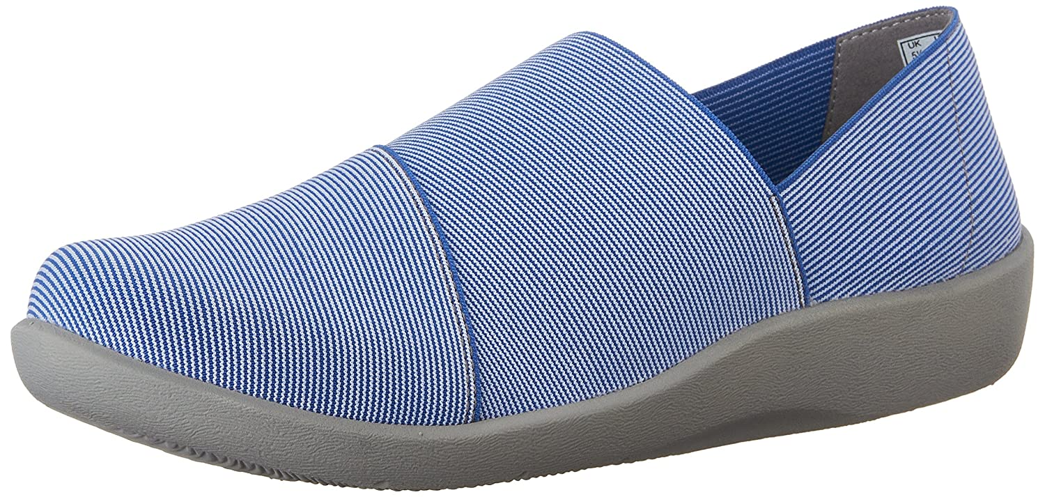 CLARKS Women's CloudSteppers Sillian Firn Flat B012558P4U 7 B(M) US|Blue Synthetic