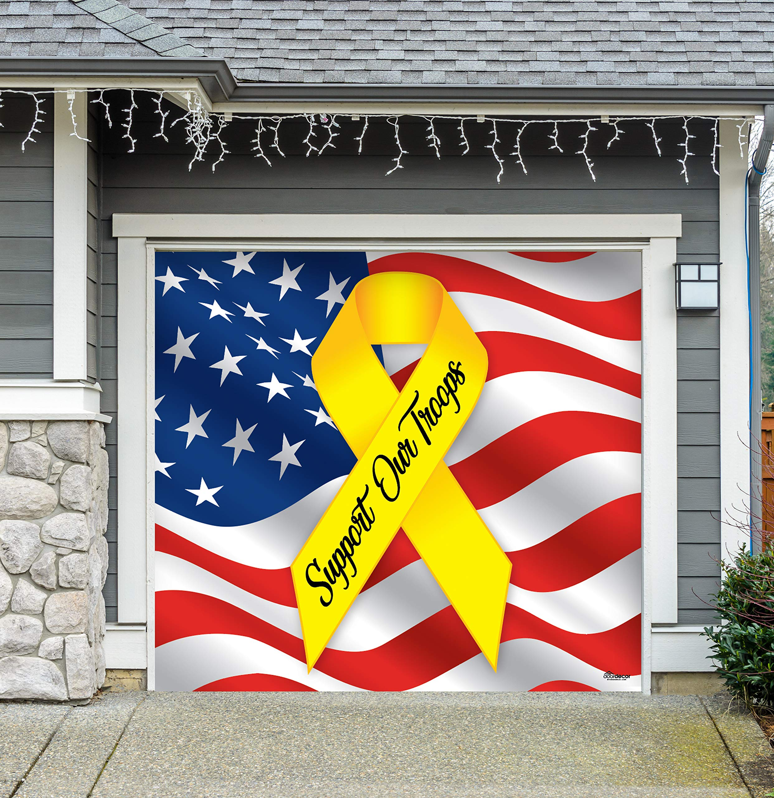 Victory Corps Support Our Troops - Patriotic Holiday Garage Door Banner Mural Sign Décor 7'x 8' Car Garage - The Original Holiday Garage Door Banner Decor