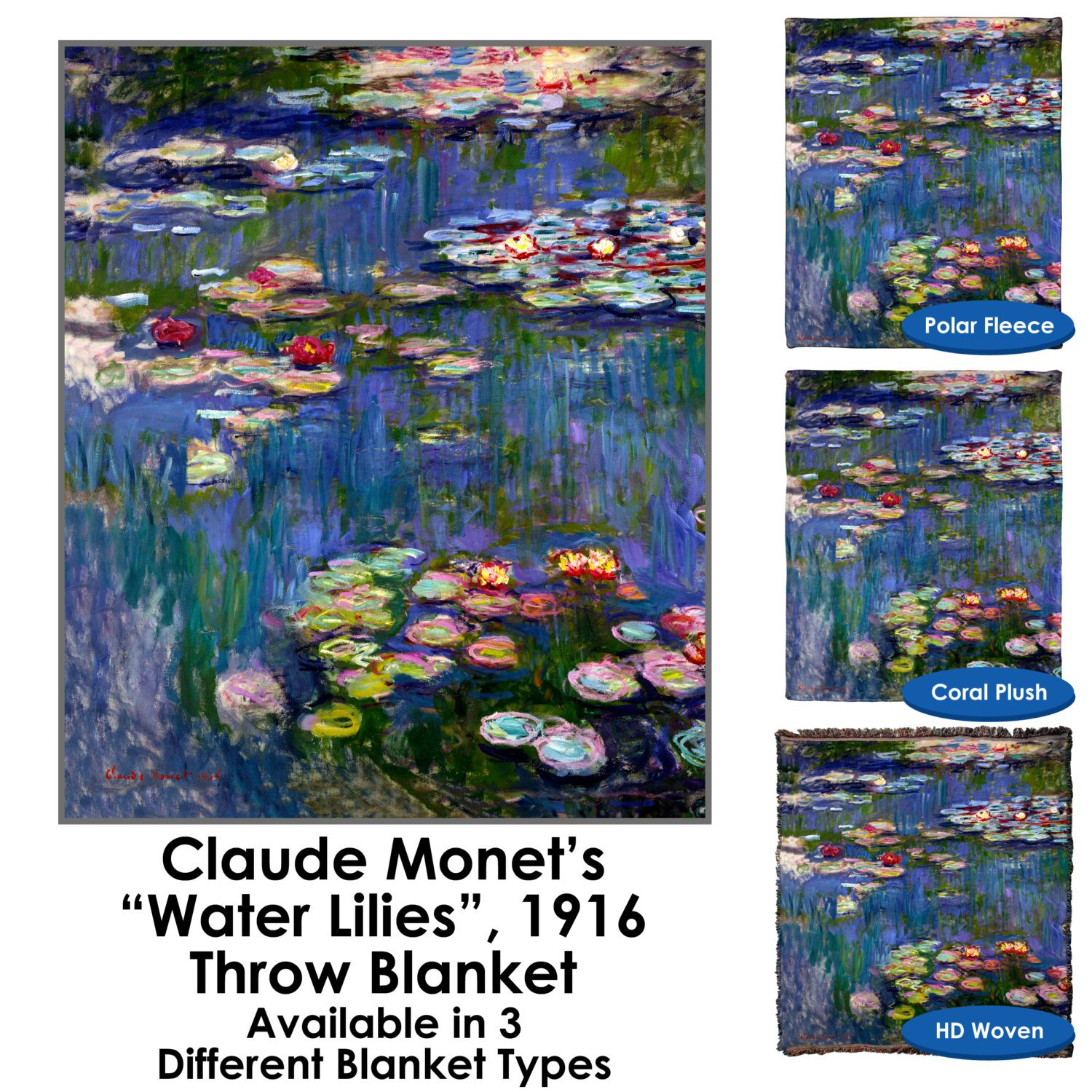 Water Lilies 1916 by Claude Monet Throw Blanket / Tapestry Wall Hanging - Standard Multi-color (Plush Fleece, 60''x80'')