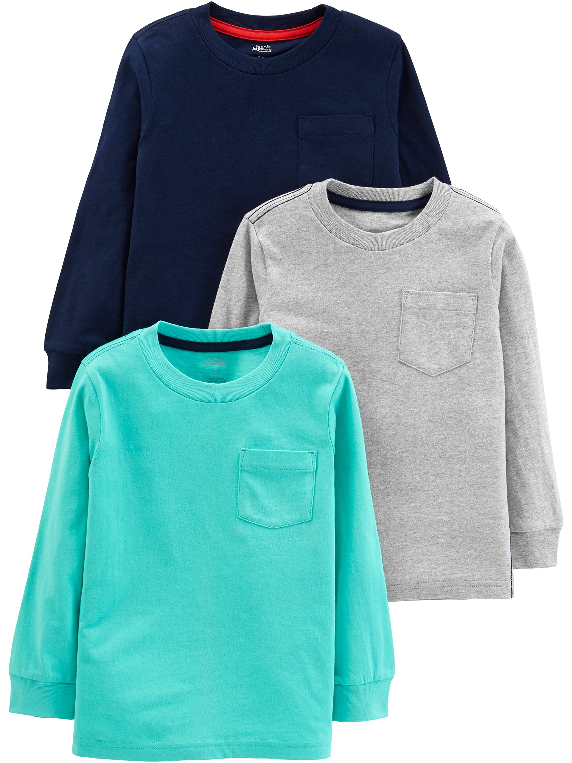 Simple Joys by Carter's Boys' Toddler 3-Pack Solid Pocket Long-Sleeve Tee Shirts, Gray/Blue/Navy, 3T by Simple Joys by Carter's