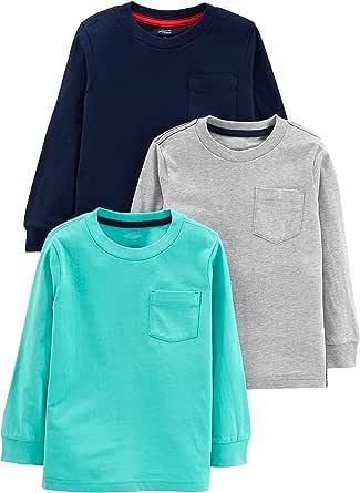 Simple Joys by Carter's 3-Pack Solid Pocket Long-Sleeve tee Shirts Niños