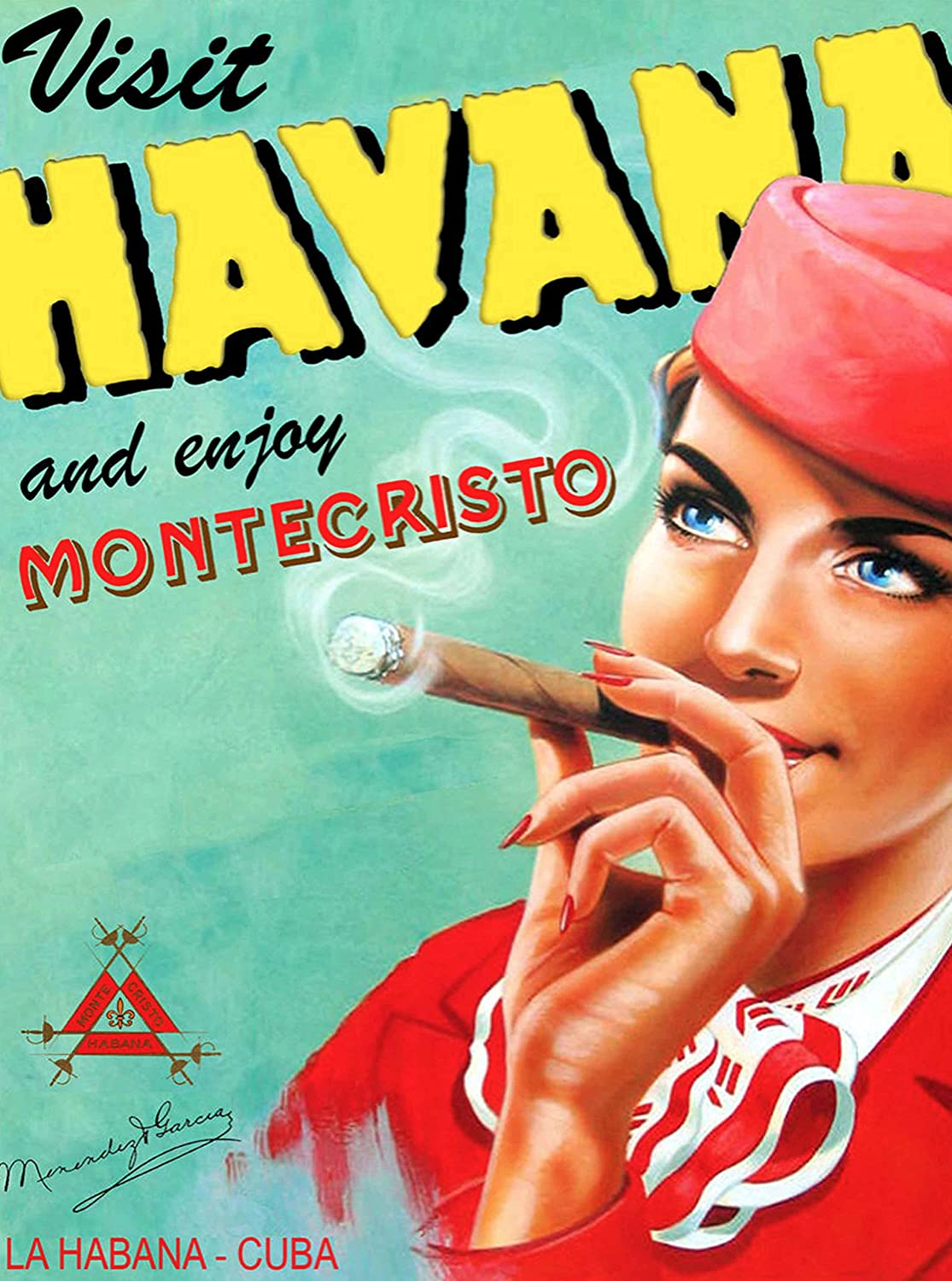 A SLICE IN TIME Visit Havana Cuba Cuban Habana Montecristo Cigar Caribbean Vintage Travel Advertisement Art Home Decoration Collectible Wall Decor Poster Print. Measures 10 x 13.5 inches