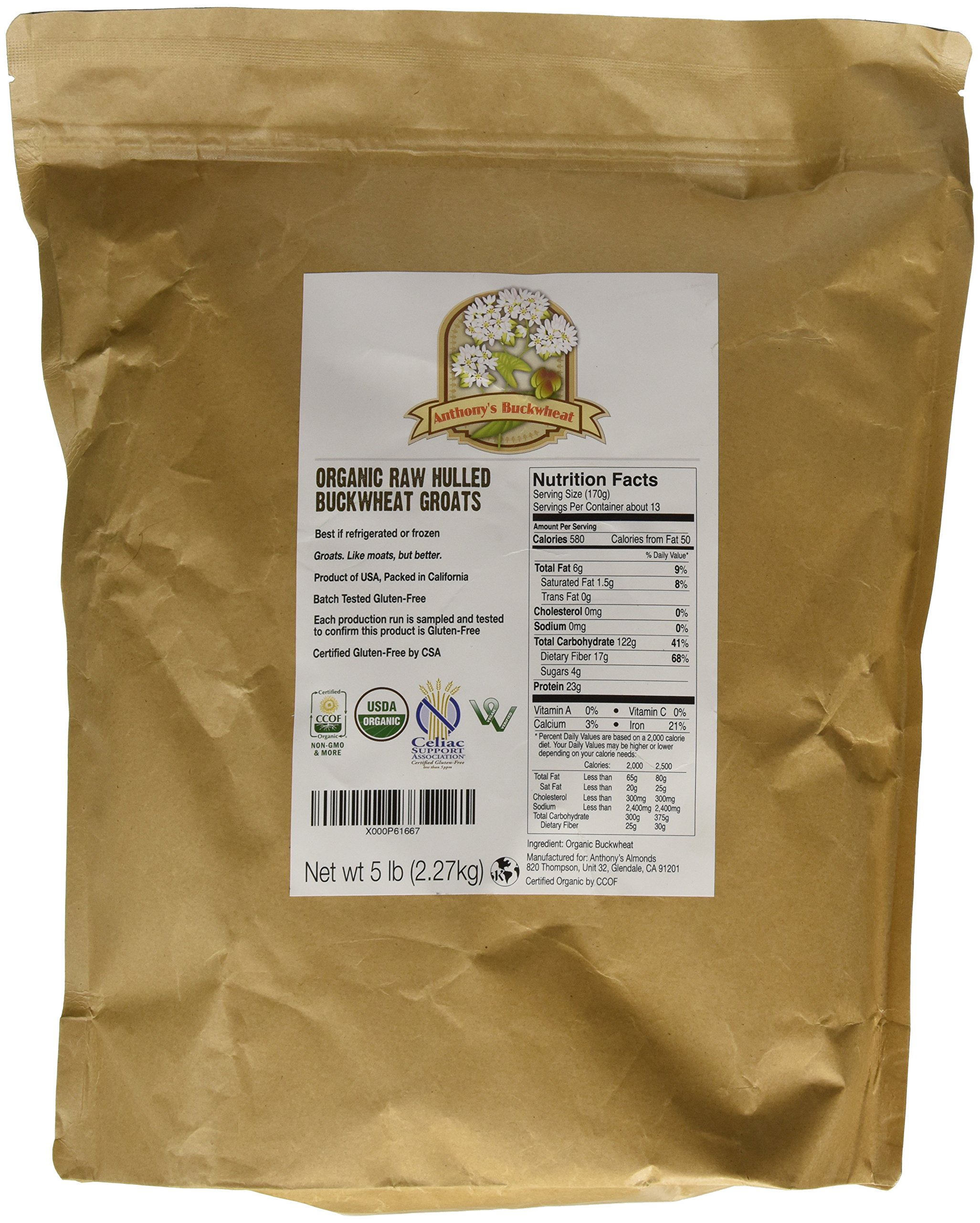 Organic Raw Hulled Buckwheat Groats (5lb) by Anthony's, Grown in USA, Gluten-Free by Anthony's (Image #1)