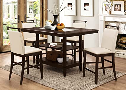 Winchester Durable Wood Frame Counter-Height Bar Dinner Pub Table With Smoke Glass Center Table & Amazon.com: Winchester Durable Wood Frame Counter-Height Bar Dinner ...