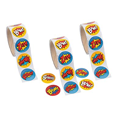Superhero Sticker Roll - 300 STICKERS - BUY BULK AND SAVE !: Toys & Games