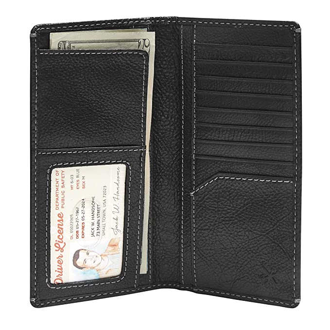 3fad9a1cbc0a HOJ Co. Men's Leather LONG Bifold Wallet-Full Grain Leather-TALL  WALLET-Slim Masculine Design