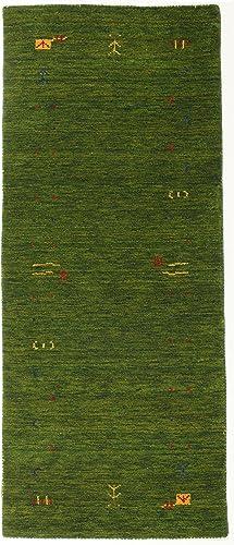 RugVista Gabbeh Loom – Green Rug 2 7 x6 7 80×200 cm Oriental, Runner Carpet