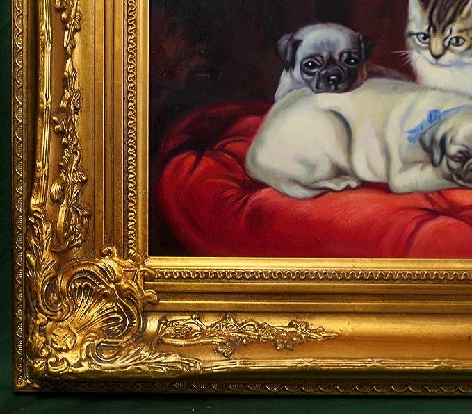 Pintado a mano pinturas al óleo con marco 60 x 50 cm perro carlino de imagen animal portrait gatos de peluche gato imagen diseño de pintura al óleo lienzo ...