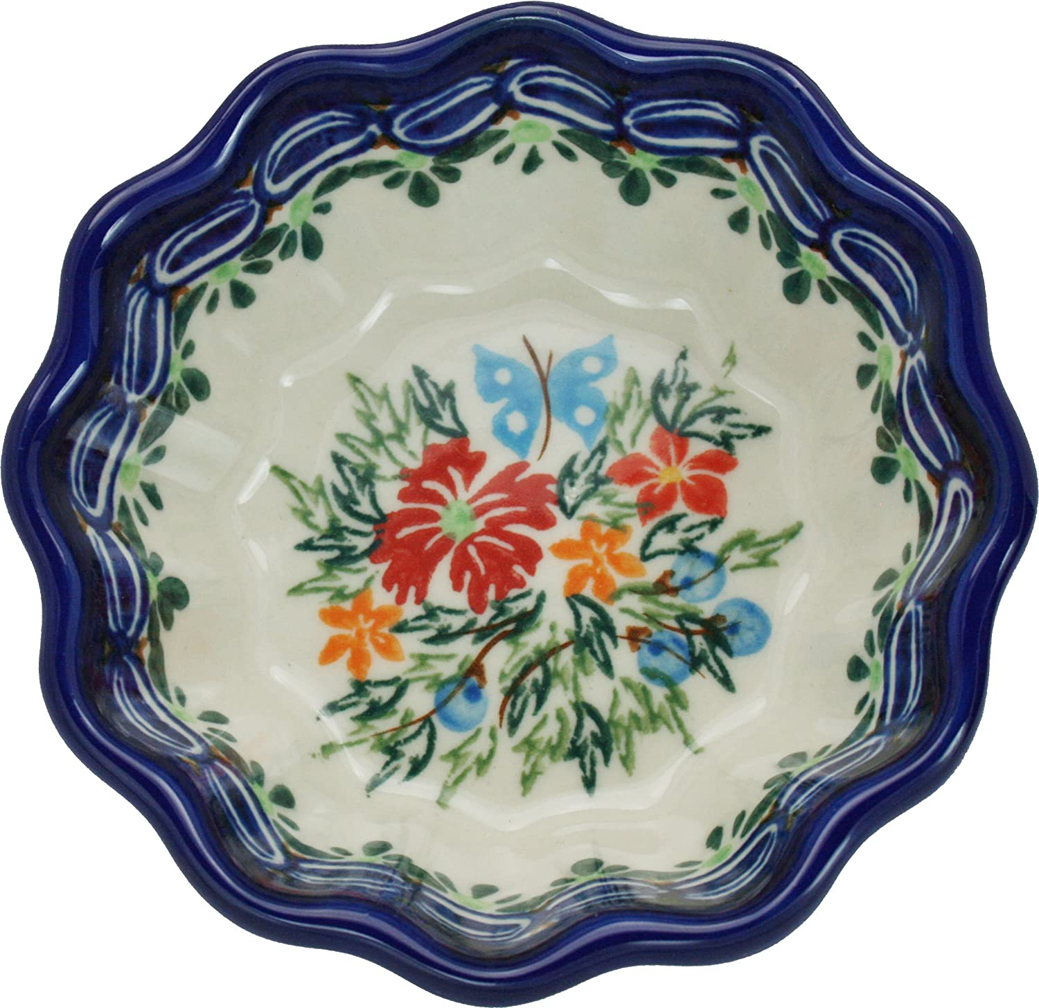 0432//238 1//2 Cup Polish Pottery Ceramika Boleslawiec Bowl Babka Small Royal Blue Patterns with Red Cornflower and Blue Butterflies Motif