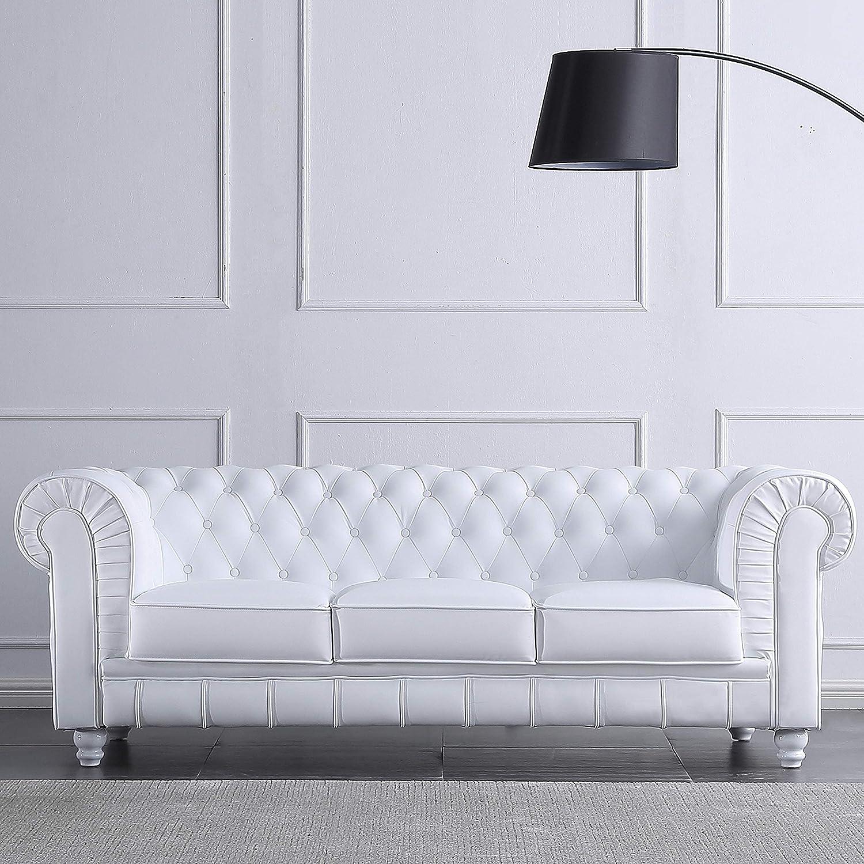Adec - Chesterfield, Sofa de Tres plazas, Sillon Descanso 3 Personas Acabado en simil Piel Color Blanco, Medidas: 211 cm (Largo) x 84 cm (Fondo) x 75 ...
