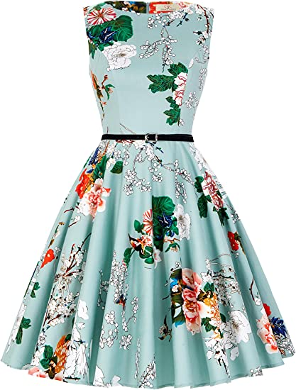 vestido de tarde vintage, sin mangas y cuello bote, para mujer