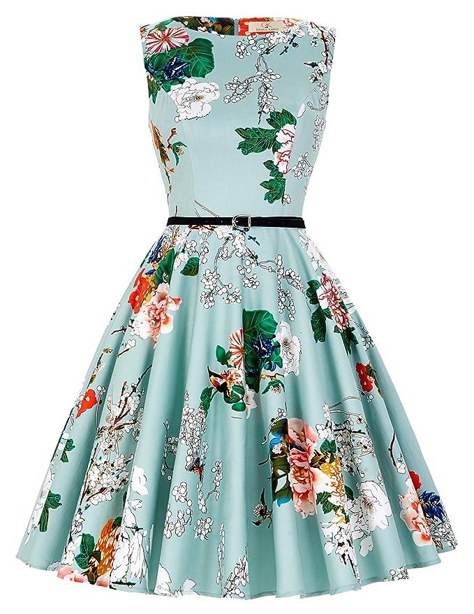 300 opinioni per GRACE KARIN® Abito a Ruota in Cotone A-Line Stile Vintage Anni'50 Audrey Hepbun