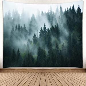 YISURE Tapestry Wall Hanging Foggy Forest Mountain Wall Art Décor Tapestry Tree Woodland Landscape Blankets Nature for Dorm Room Living Home, Grey Green, 108x81 Inches
