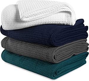 Ramanta Home Waffle Weave Blanket Twin 60x90 inch- White,Cotton Blanket