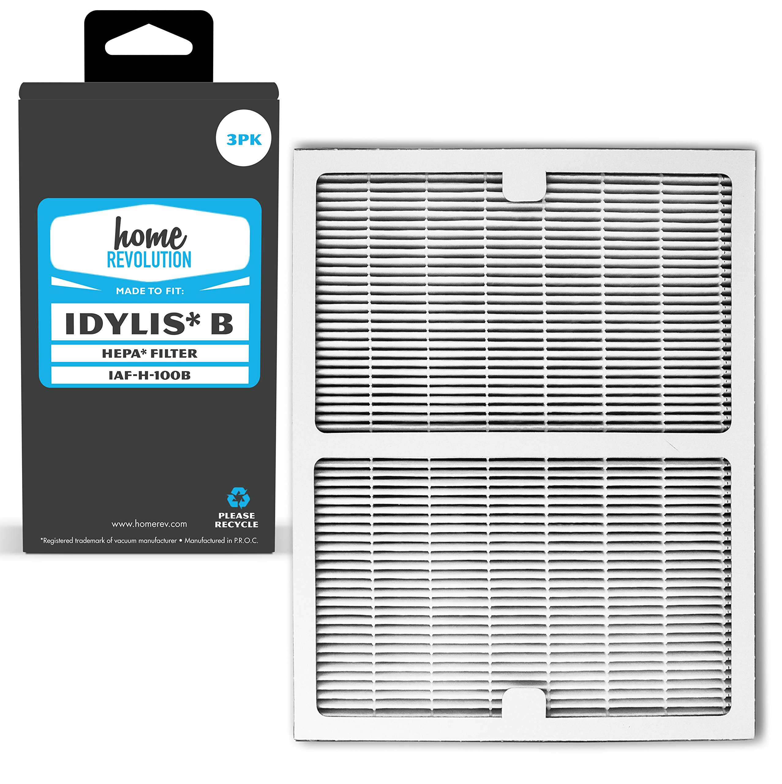 Home Revolution 3 Replacement HEPA Filters, Fits Idylis IAP-10-125 and IAP-10-150 Air Purifiers and Type B Part IAF-H-100B