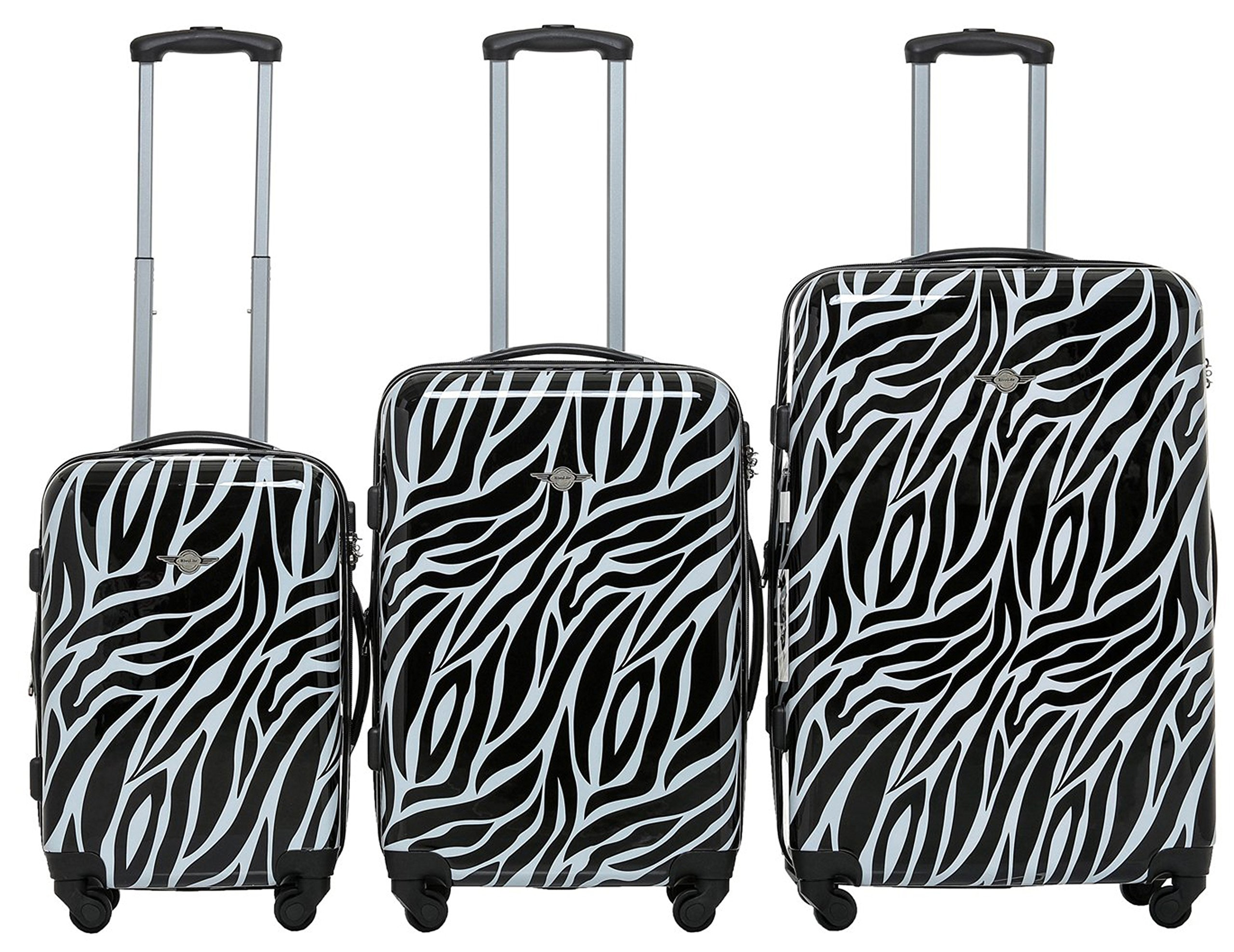 Rivolite PC 3 Piece Luggage Set: 20'' 24'' 28'' Portable Suitcase Zebra Unique Design The Pringting Design Luggage(Zebra) by Rivolite