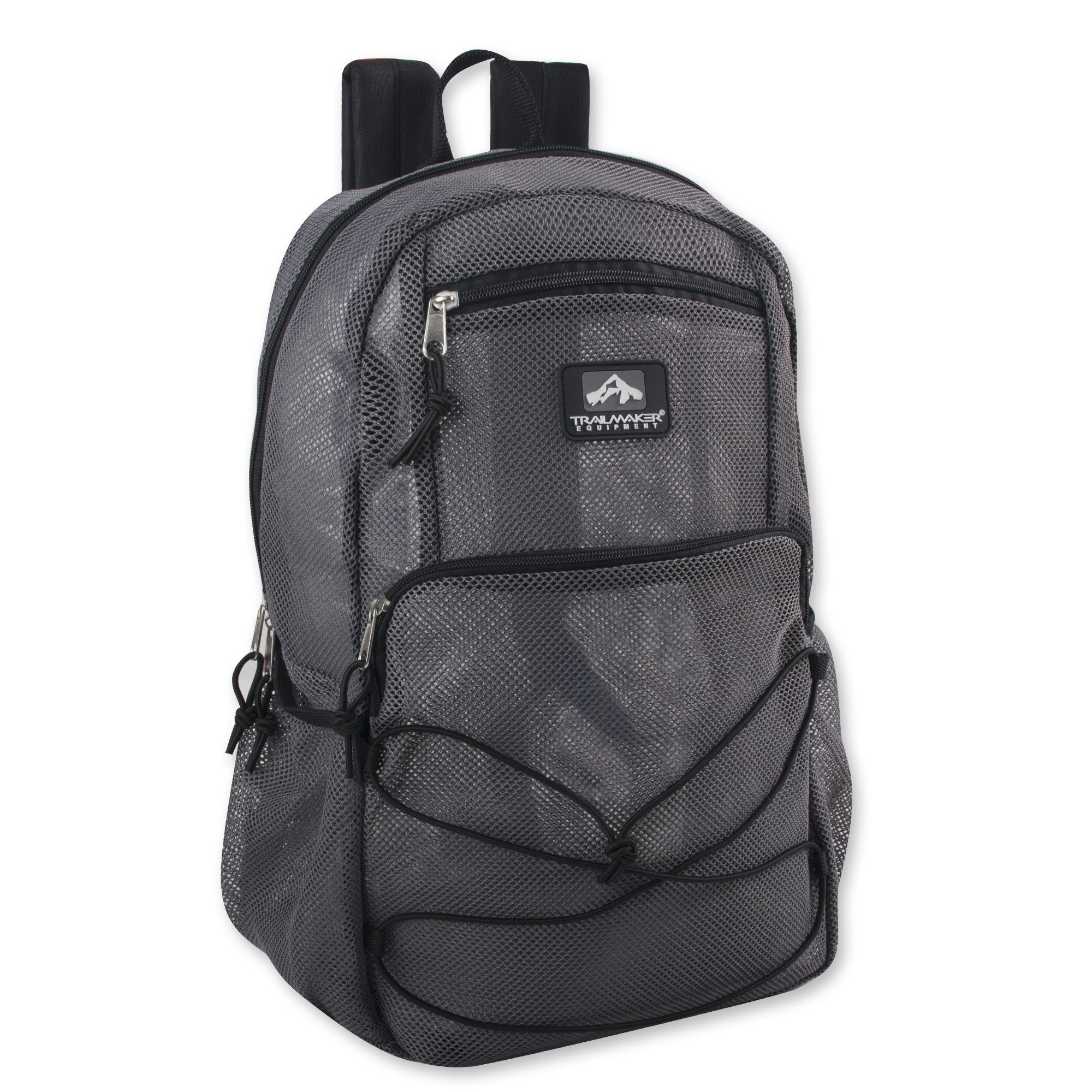 Deluxe Mesh Bungee Backpack With Padded Shoulder Straps (Grey)