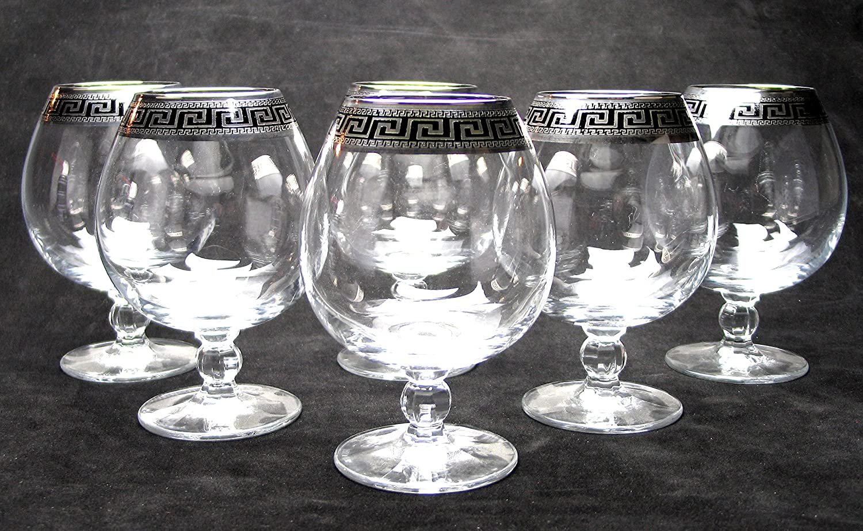 """Cristalleria Italian Decor"" Crystal Cognac Snifter Goblet, 17 oz. Silver Platinum Greek Key Ornament, Hand Made in Italy, SET OF 6 Glasses Crystalleria italian Decor C1264/1786"