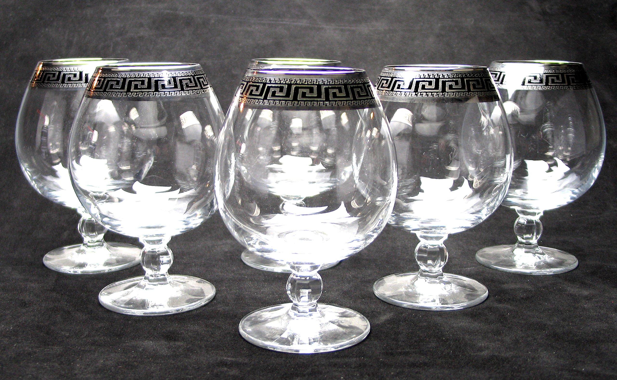 ''Cristalleria Italian Decor'' Crystal Cognac Snifter Goblet, 17 oz. Silver Platinum Greek Key Ornament, Hand Made in Italy, SET OF 6 Glasses