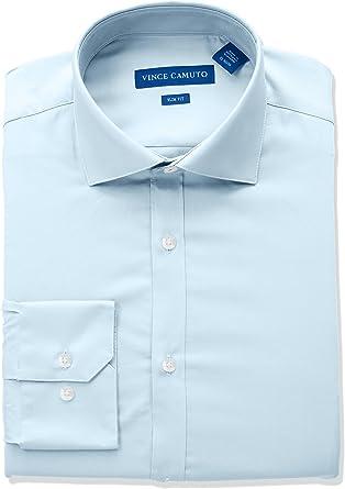 Vince Camuto Hombre Cuello Tipo Italiano Manga Larga Camisa de Vestir: Amazon.es: Ropa y accesorios