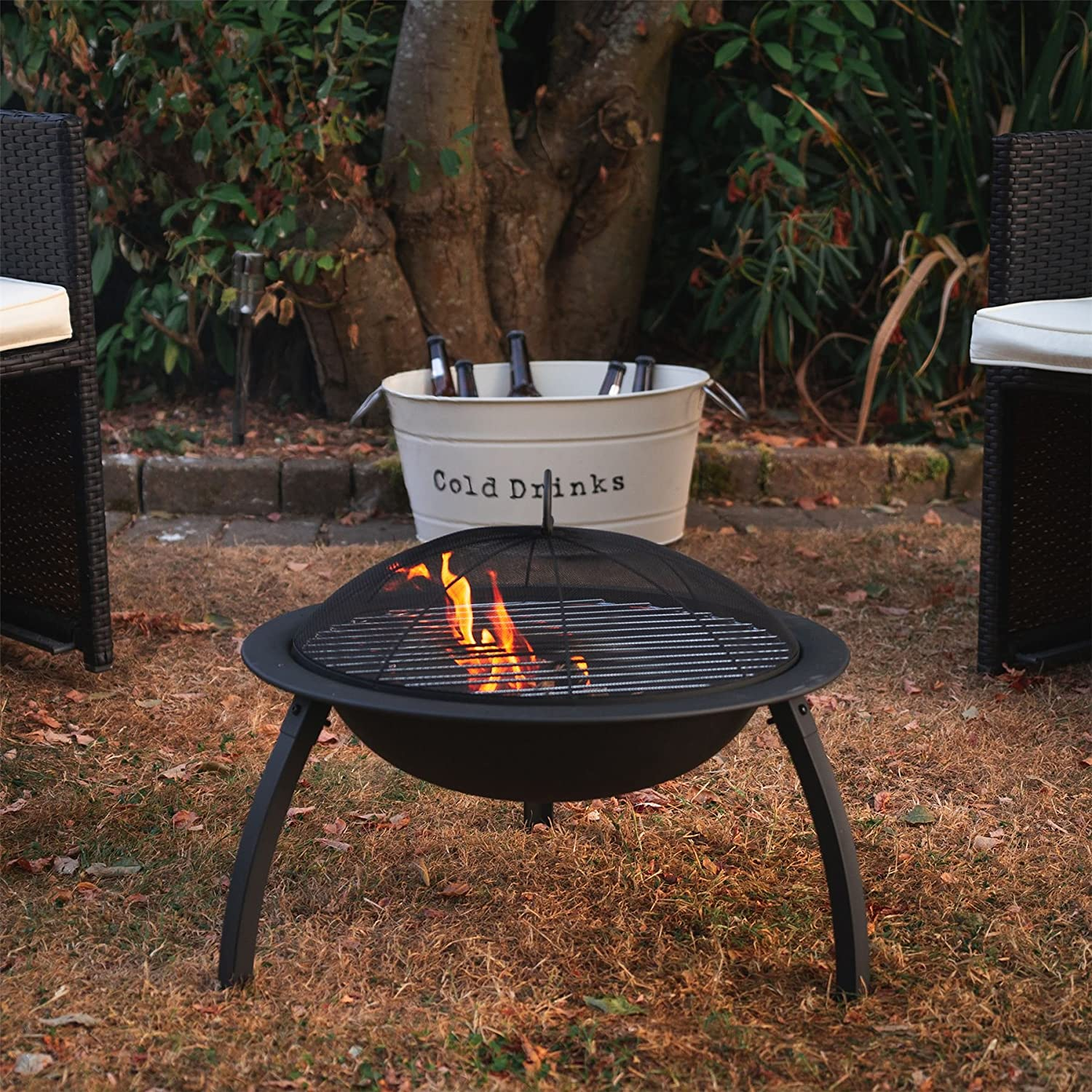 Outdoor Garden Patio Heater Camping Bowl for Wood Charcoal Harbour Housewares Fire Pit BBQ with Grill 54cm Diameter