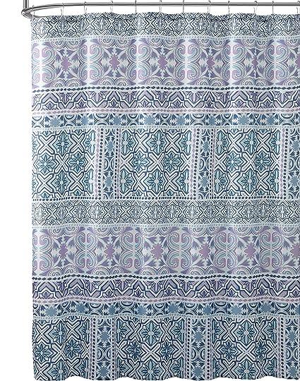Amazon VCNY Home Bathroom Fabric Shower Curtain Blue Purple