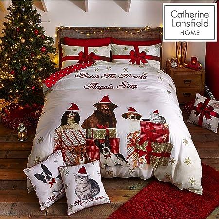 Copripiumino Matrimoniale Natalizio.Catherine Lansfield Christmas Party Animal Set Copripiumino