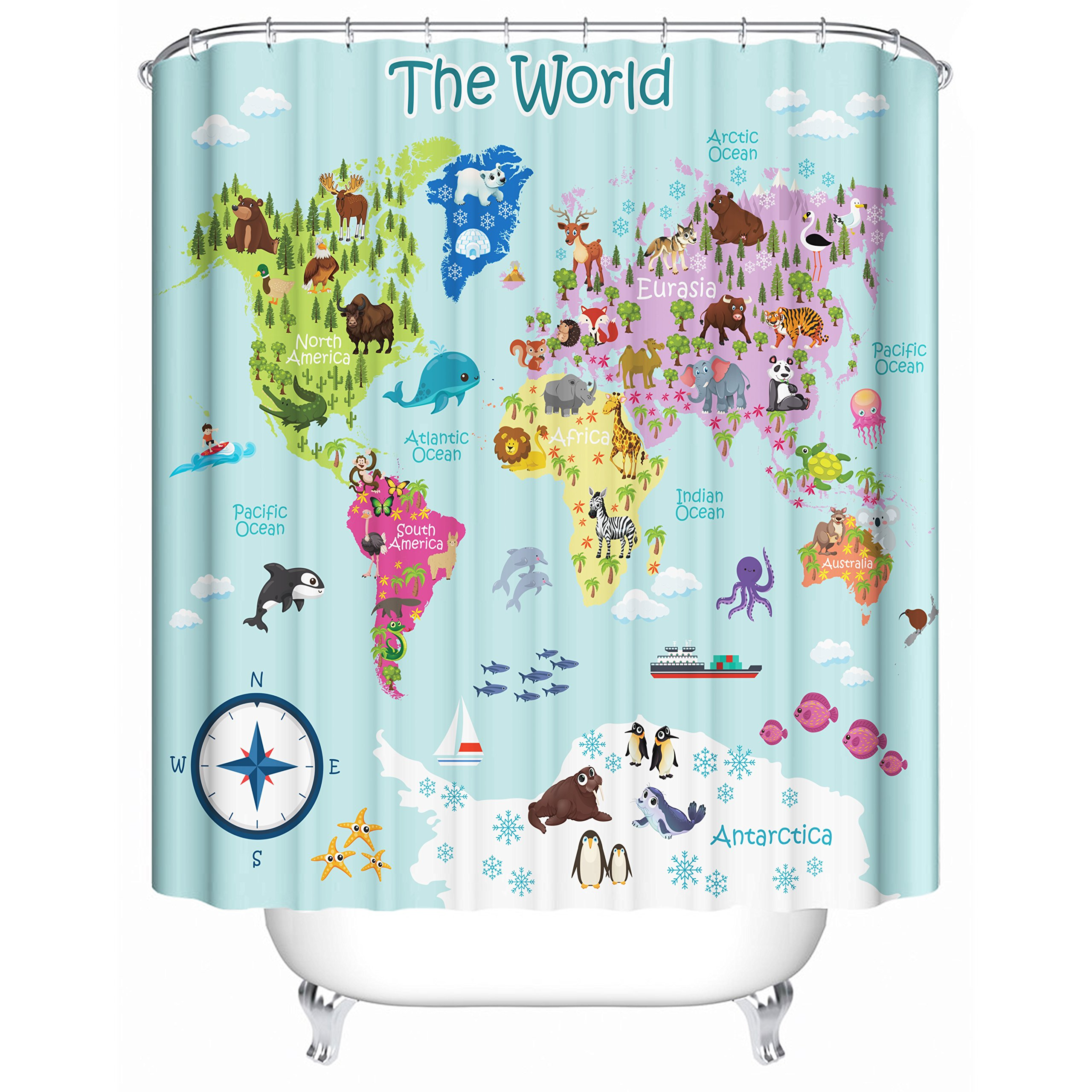 Kids World Map Shower Curtain For Kids - 71 X 71 Inches with 12 Sturdy Hooks - Premium Quality 100% Woven Polyester Unique Design with Color Coded Continent and Various Animals Of Each Country