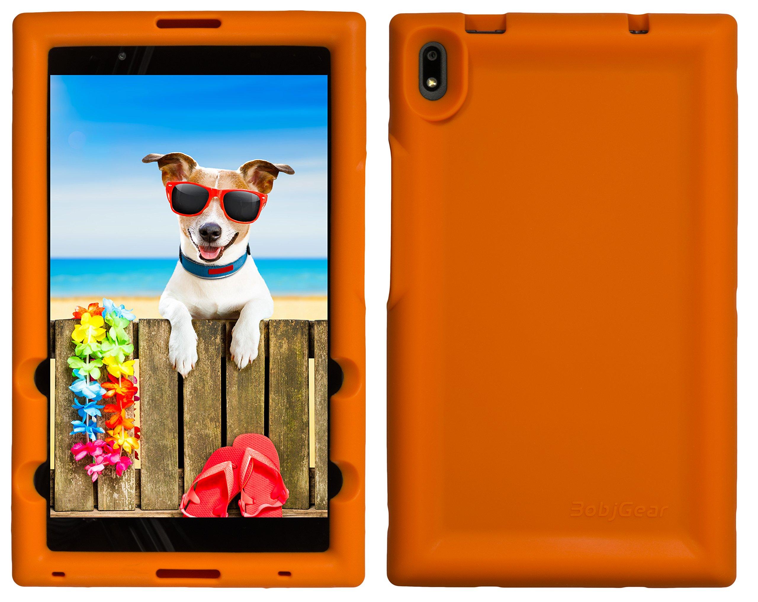 BobjGear Bobj Rugged Tablet Case for Lenovo Tab 4 8 Plus (TB-8704V, TB-8704XF, TB-8704X, TB-8704A) - BobjBounces Kid Friendly (Outrageous Orange)