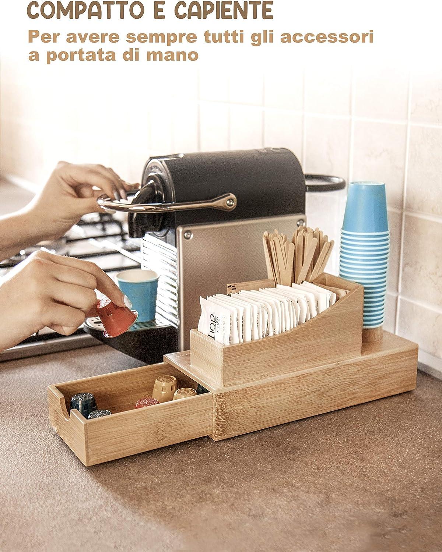 FMC Solutions Kaffee- und Tee-Utensilienhalter aus Bambus f/ür Zucker in Beuteln Tisch-Organizer mit Schublade f/ür Kaffeepads oder Kapseln Paletten Gl/äsern und Nespresso-Kapseln