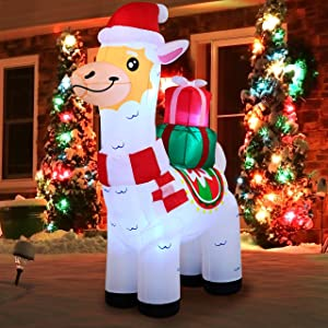 Joiedomi Christmas Llama Inflatable 6 FT with Built-in LEDs Blow Up Inflatables for Christmas Party Indoor, Holiday Outdoor Decorations, Yard, Garden, Lawn Décor Decor.