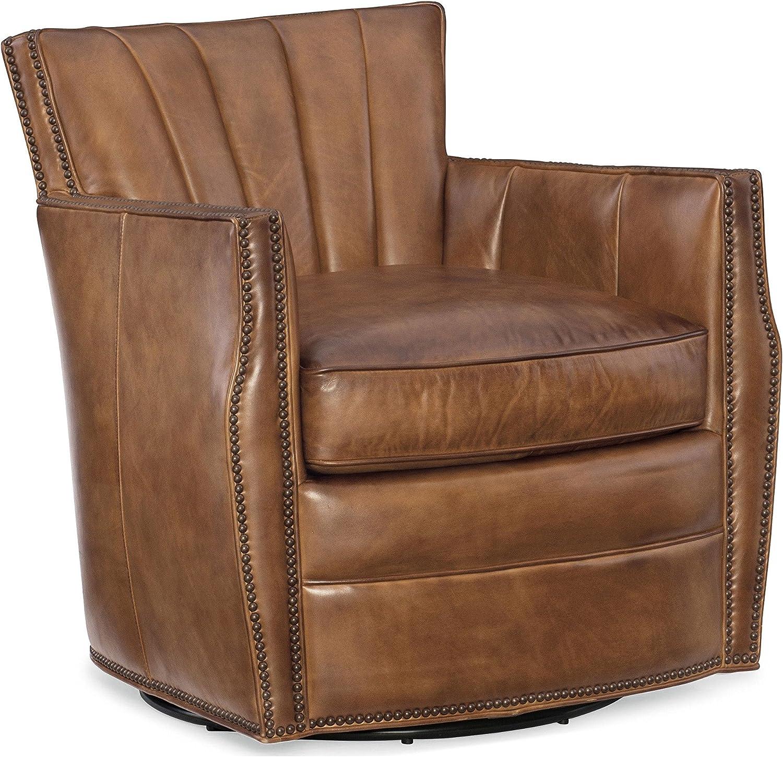 Hooker Furniture Carson Leather Swivel Club Chair in Cape Palliser