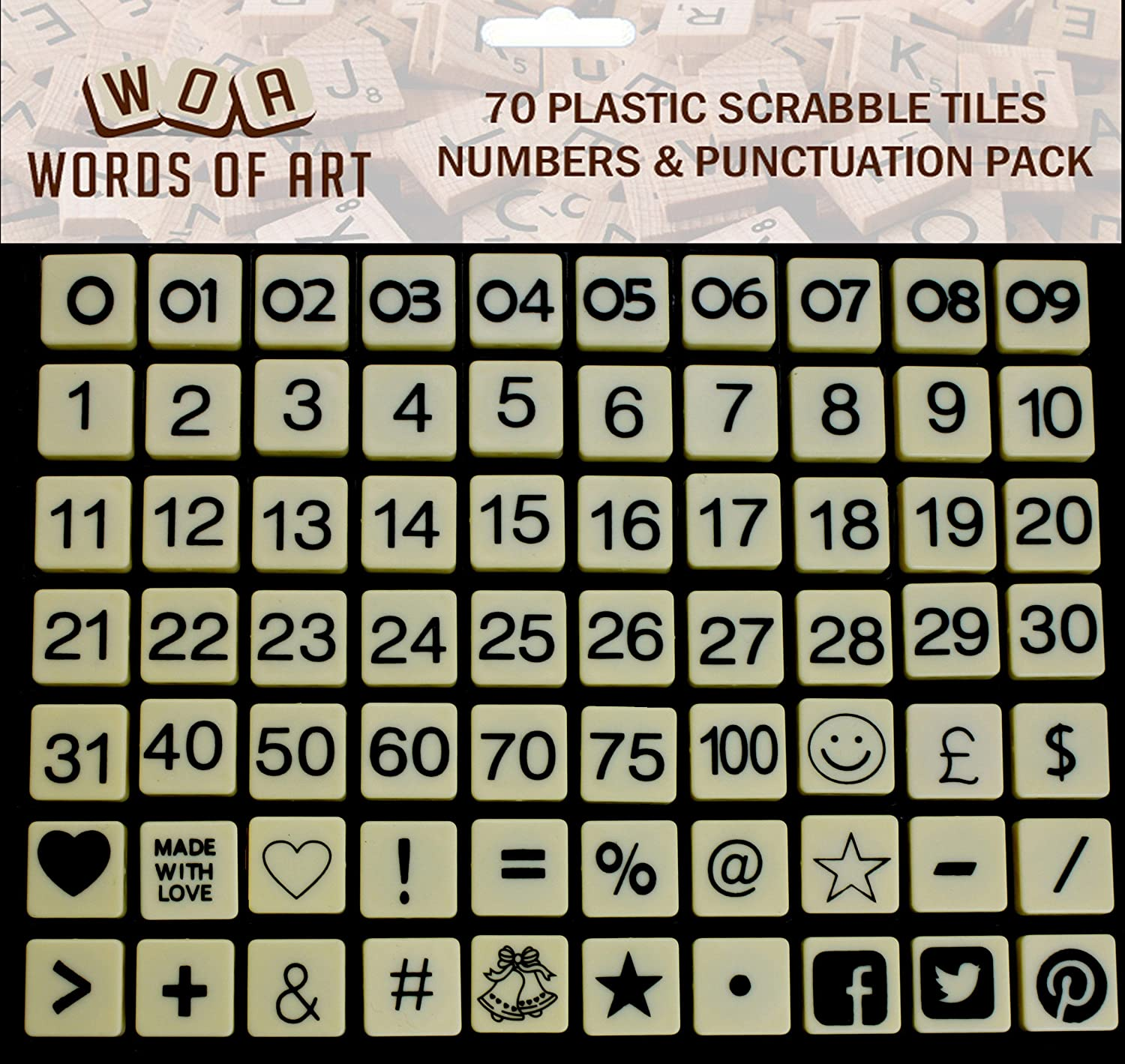Numbers and Punctuation set - 70 Plastic Ivory Letter Word Game Tiles perfect for collages