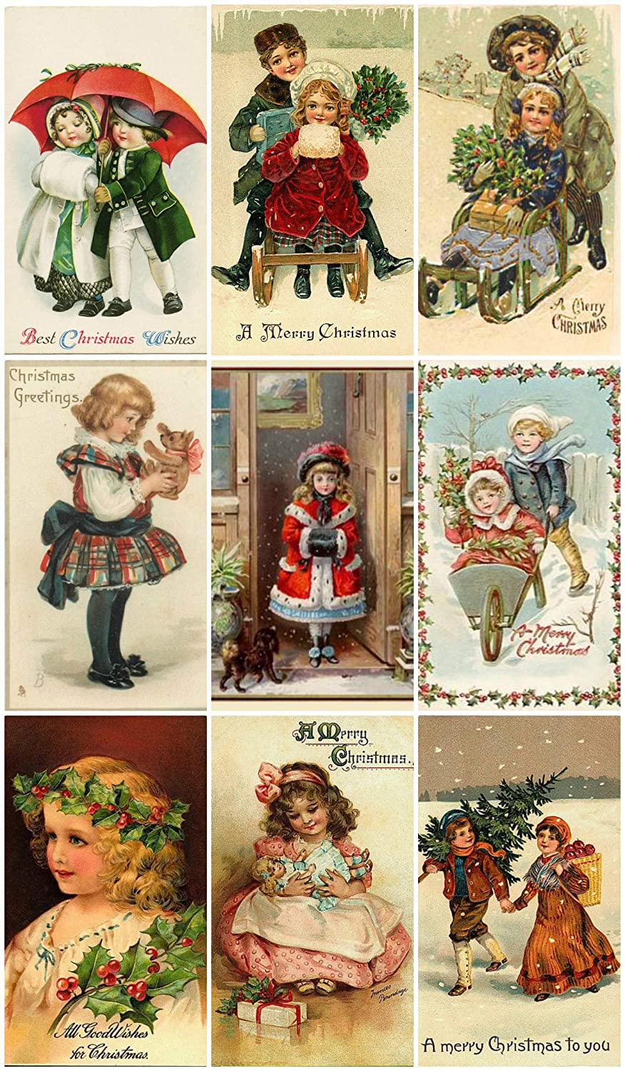 Victorian Vintage Children # 103 Christmas Card Collage Sheet 8.5 x 11 Paper Moon Media
