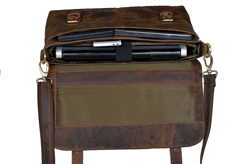 Amazon.com: Handolederco Vintage Buffalo Leather Messenger Satchel ...