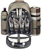 4 Person Picnic Backpack With SOLID Stainless Steel Utensils, Oversized Water Resistent Fleece Blanket , Cooler Compartment, Detachable Wine Bottle Holder in a Modern Designed Backpack