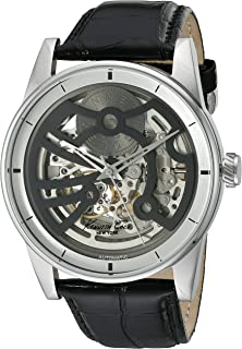 Kenneth Cole New York Mens Automatic Automatic Stainless Steel and Black Leather Dress Watch
