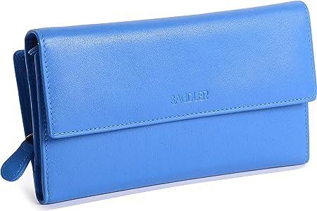 Portefeuille SADDLER en Cuir /à Double Rabat pour Femmes avec Porte-Monnaie 3 Volets Bleu Sarcelle