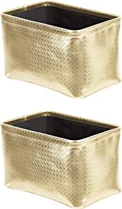 AmazonBasics Storage Bins - Metallic Gold, 2-Pack
