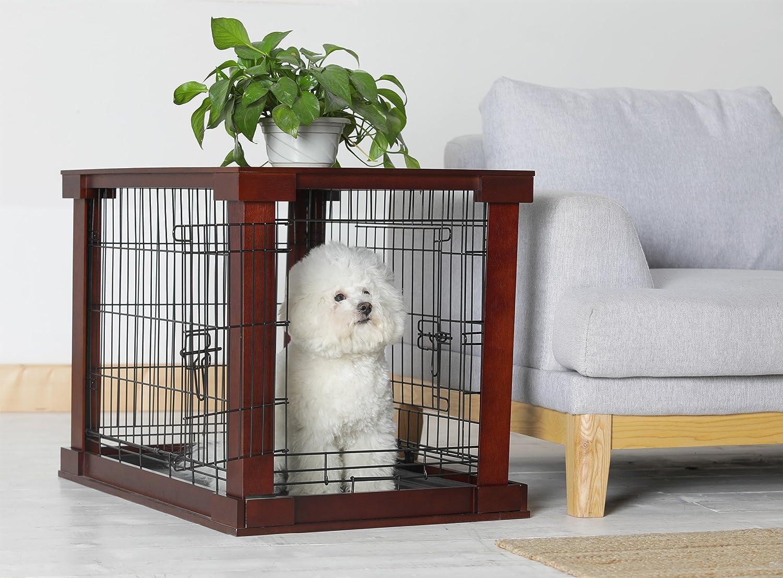Indoor Dog Crate Living Room End Table Kennel Cage Wood Pet Side ...